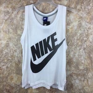 New Nike white logo workout tank top